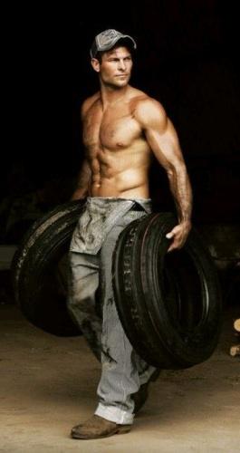 Shirtless working man
